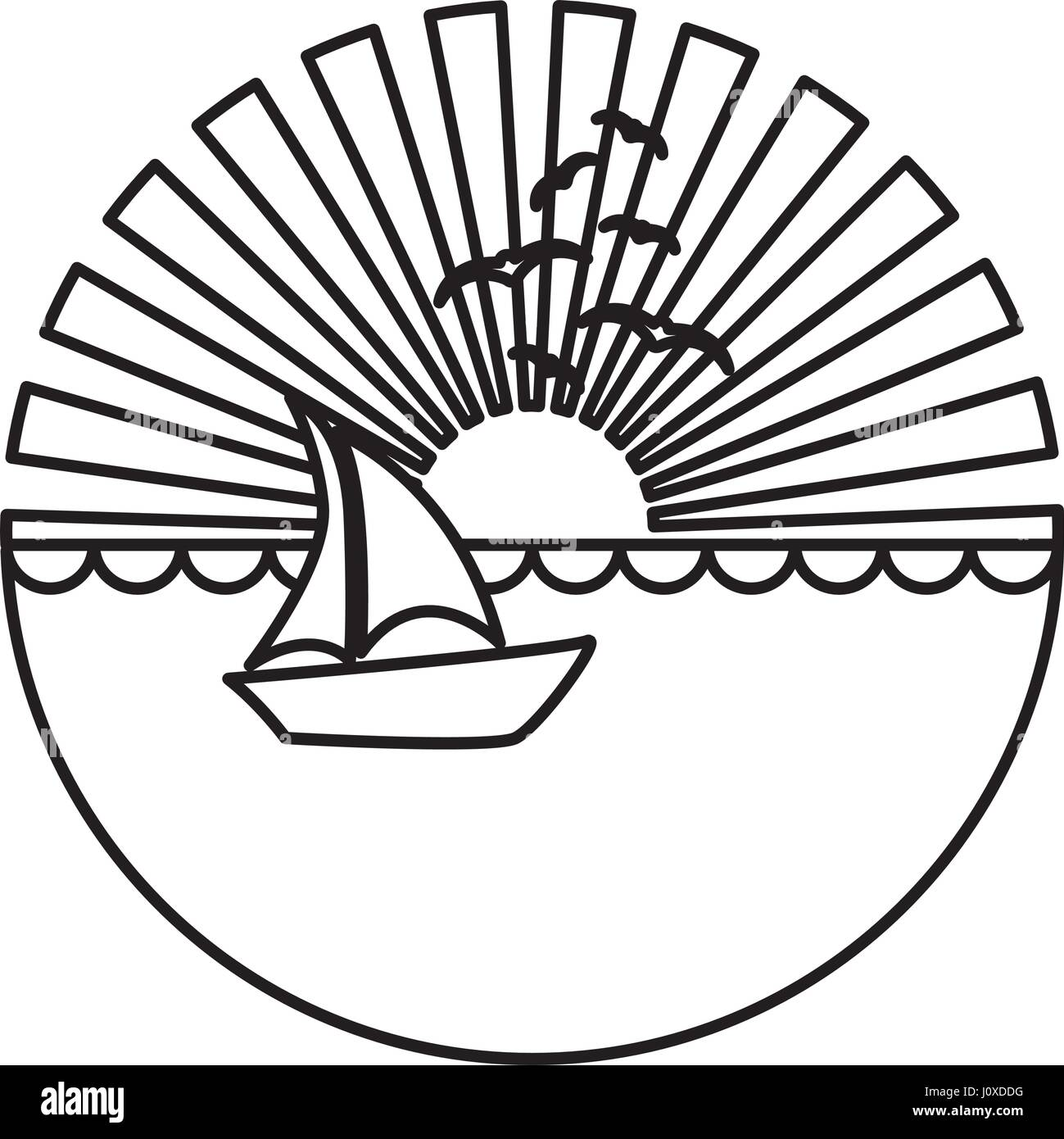 silhouette circular background sunset in the ocean with boat over waves - Stock Vector