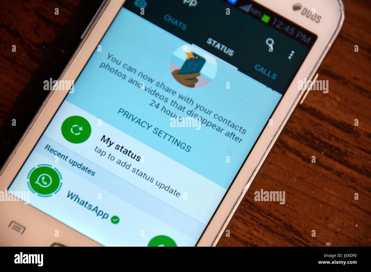 whatsapp Status - Stock Image
