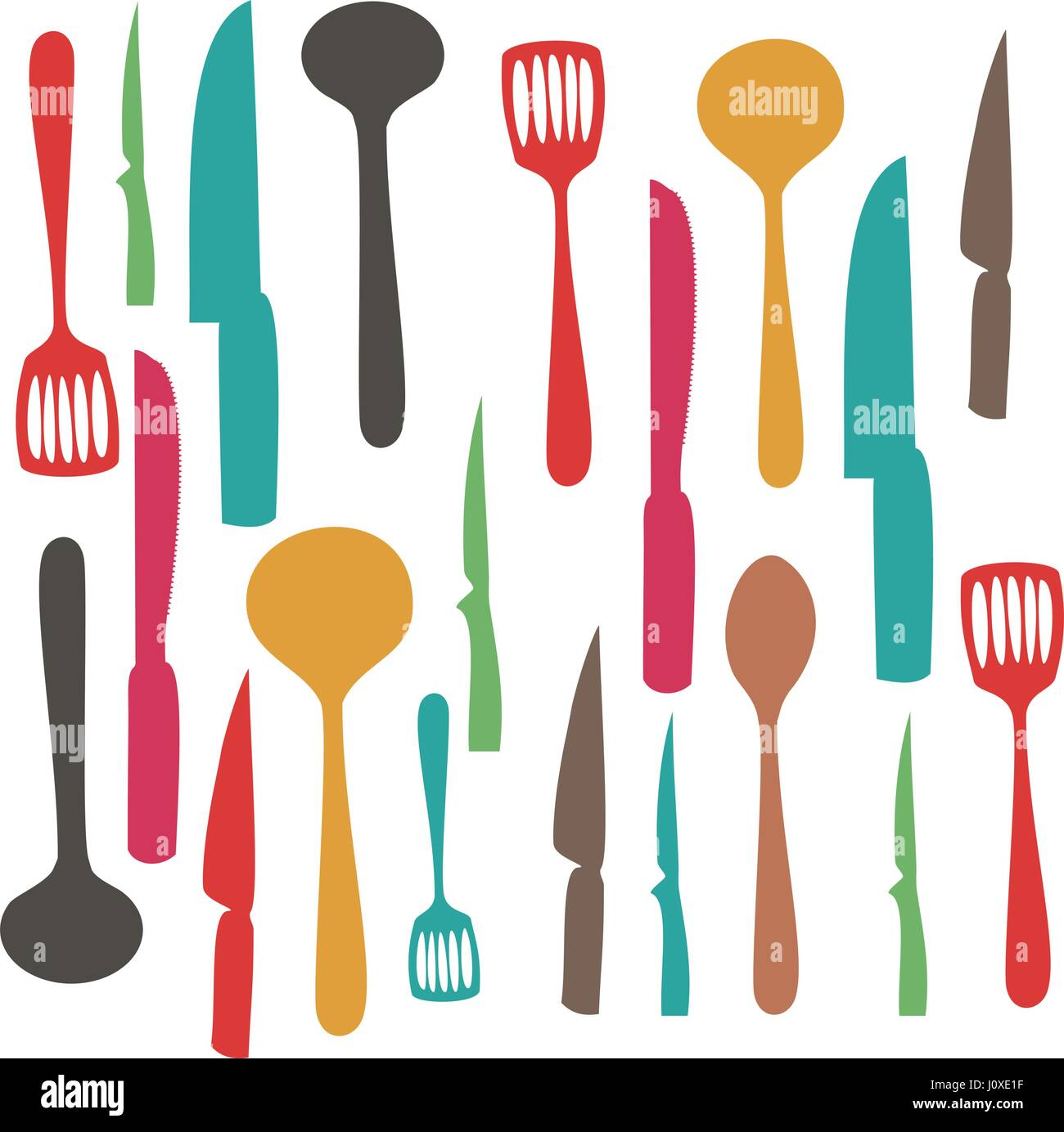 colorful set pattern of kitchen utensils - Stock Vector