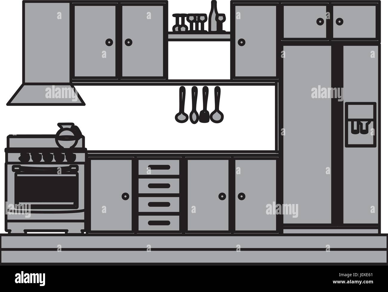 grayscale silhouette of kitchen cabinets with stove and ...