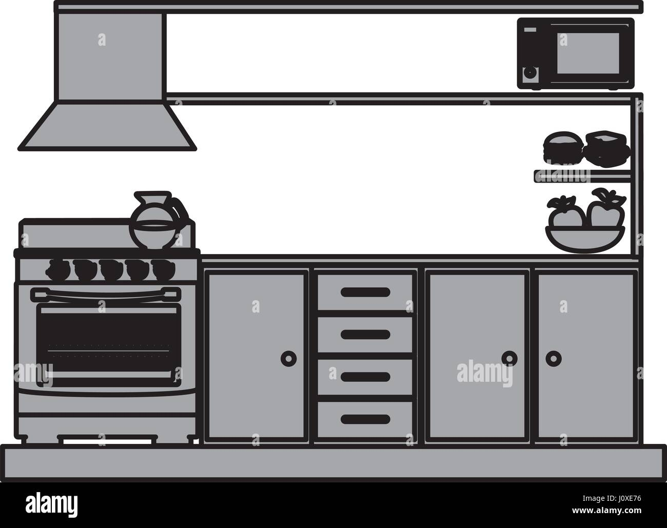 Grayscale Silhouette Of Lower Kitchen Cabinets With Stove And Oven