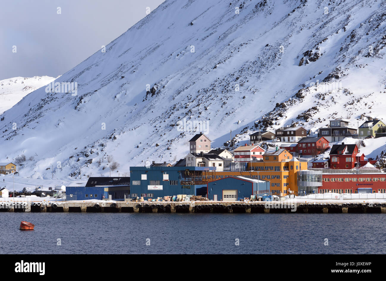 The harbour at Honningsvag, the northernmost city in Norway. Honningsvåg, Nordkapp, Finnmark, Norway. - Stock Image
