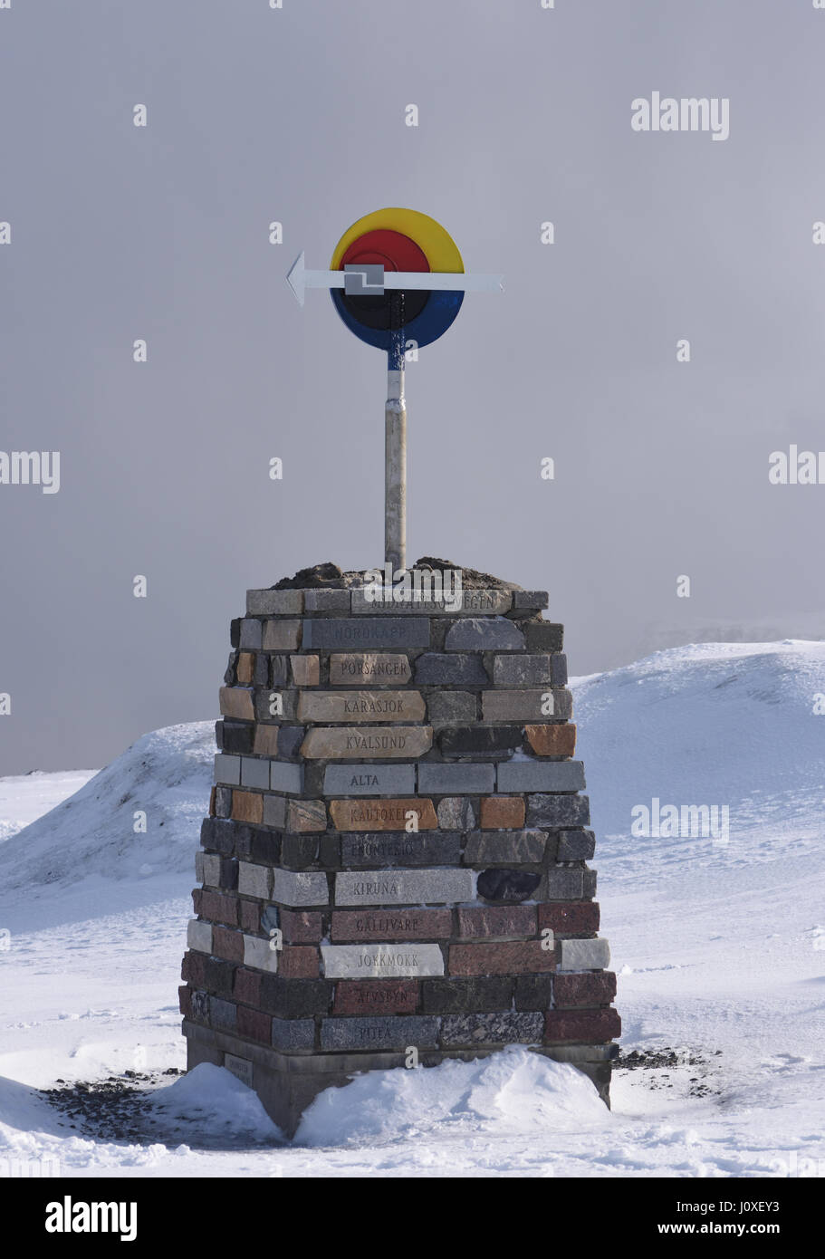 Sign  marking the start of the Midnattsolvegen, the Midnight Sun Road, from North Cape, Nordkapp to Pitea in Sweden. - Stock Image