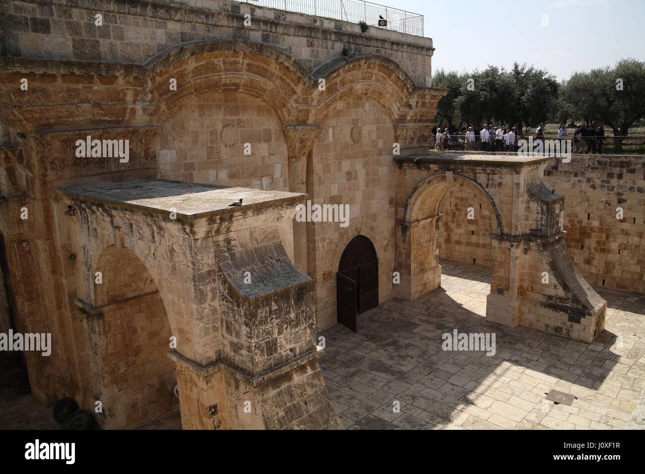 The Golden Gate seen from inside the Temple Mount, Messiah, Jesus and Muhammad will enter Jerusalem here, the structure - Stock Image