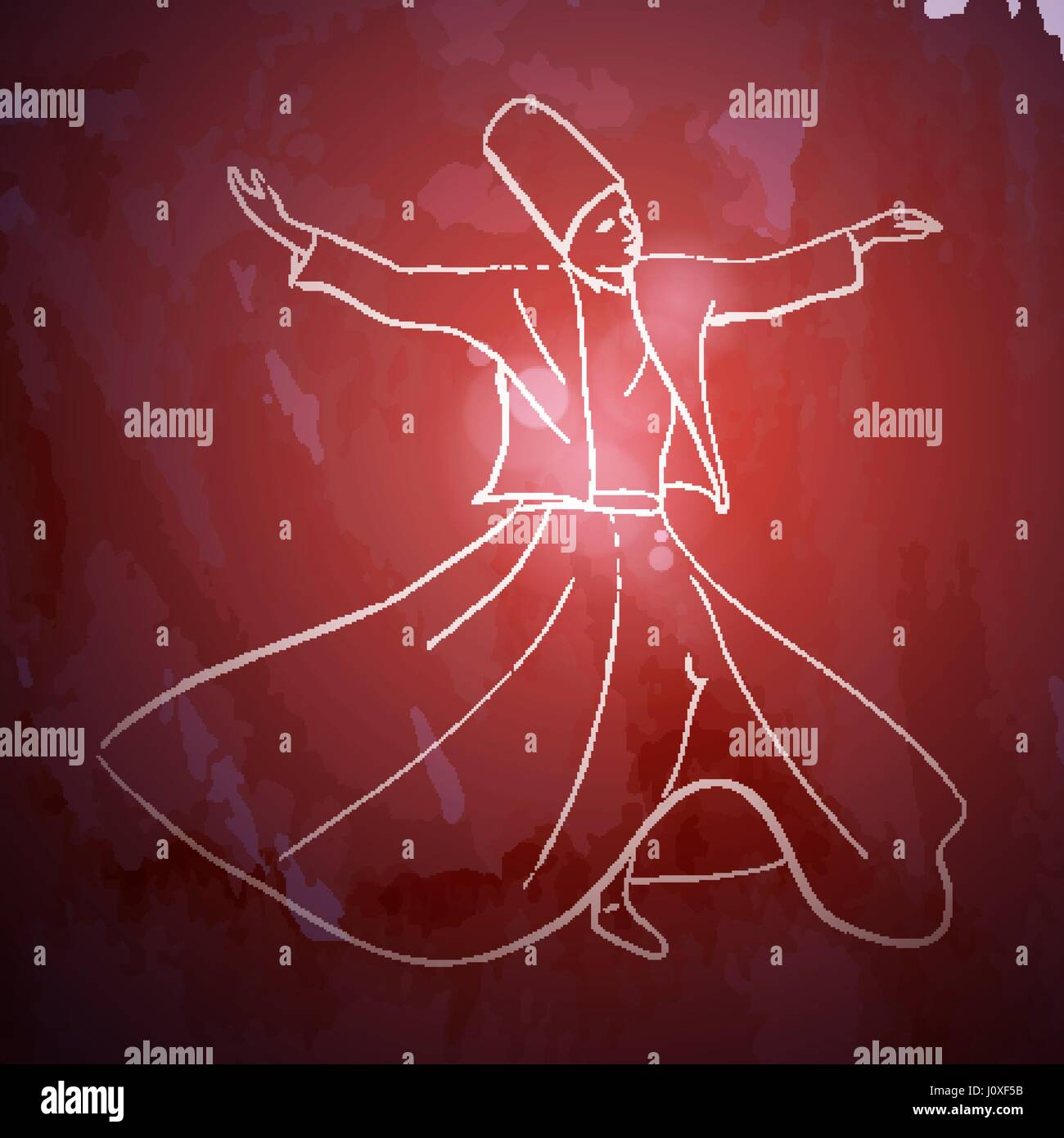Whirling Dervish sufi religious dance - Stock Vector