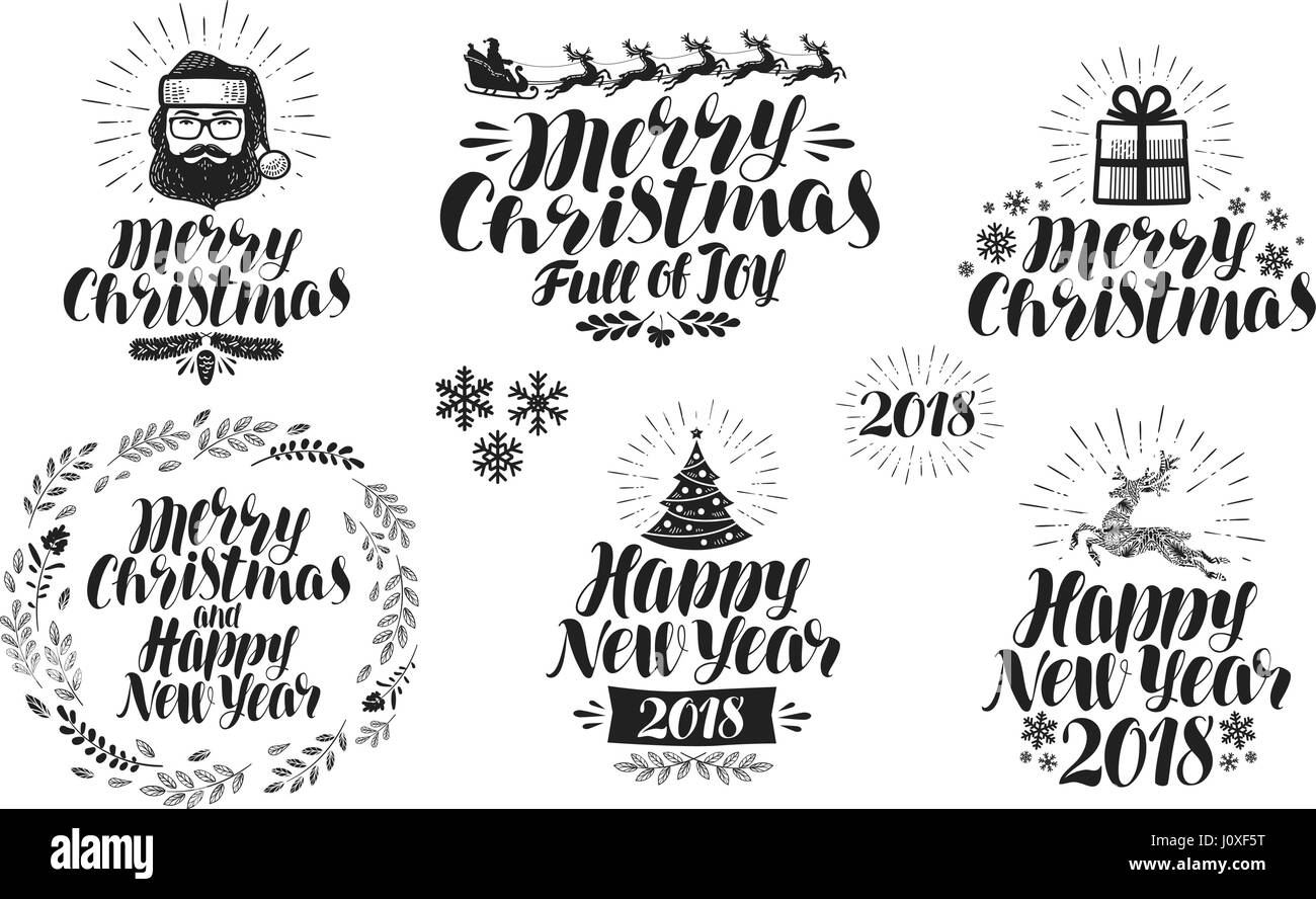 merry christmas or happy new year label set xmas icon or logo typographic design lettering calligraphy vector illustration