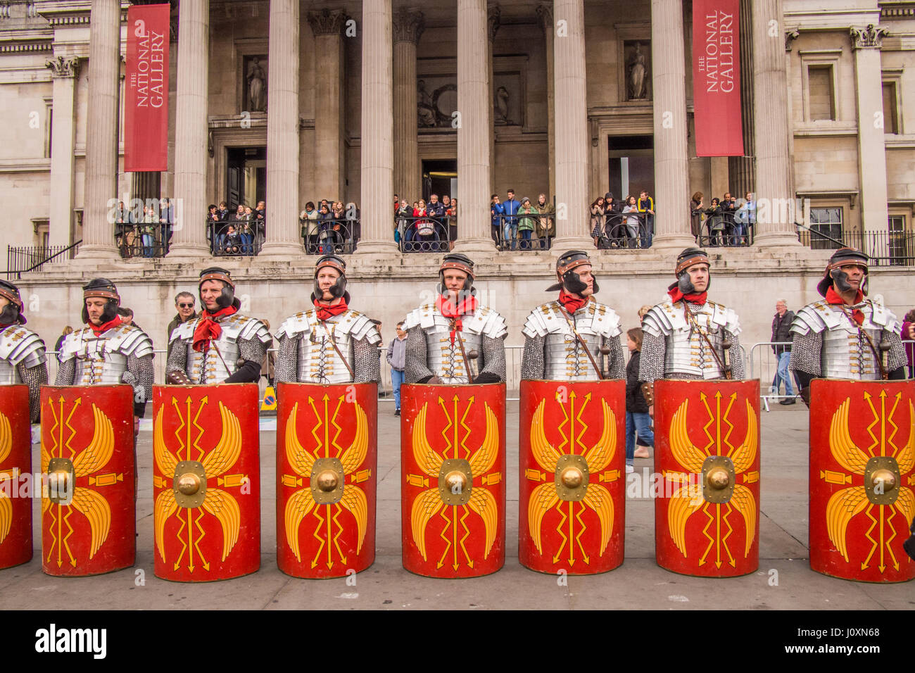 'Roman Guards' before Theatrical performance of the Passion of the Christ in Trafalgar Square London, Easter - Stock Image