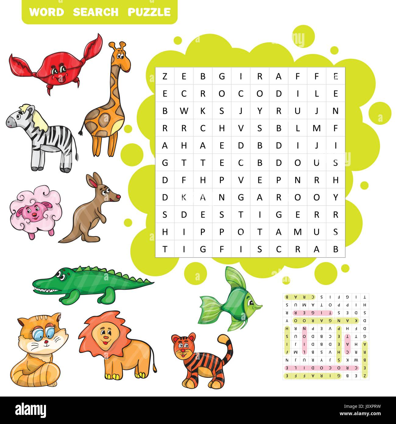 Animal Word Search Puzzle - Printable Worksheet - Free ...