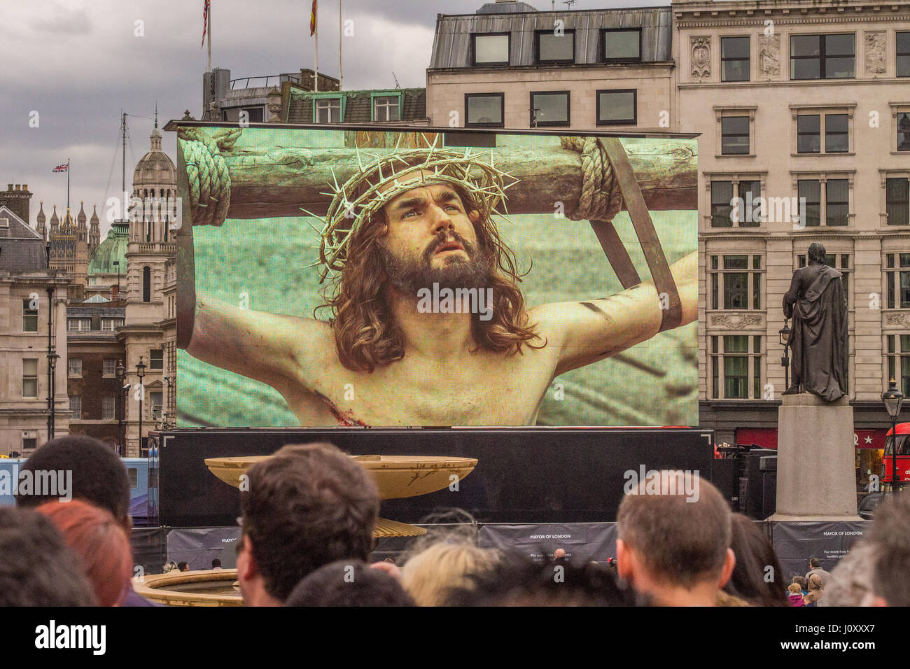 Theatrical performance of the Passion of the Christ in Trafalgar Square London, Easter Weekend 2017 - Stock Image