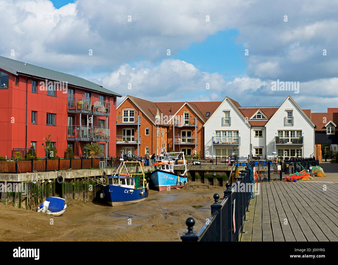 Apartments overlooking the River Colne, Wivenhoe, Essex, England UK - Stock Image