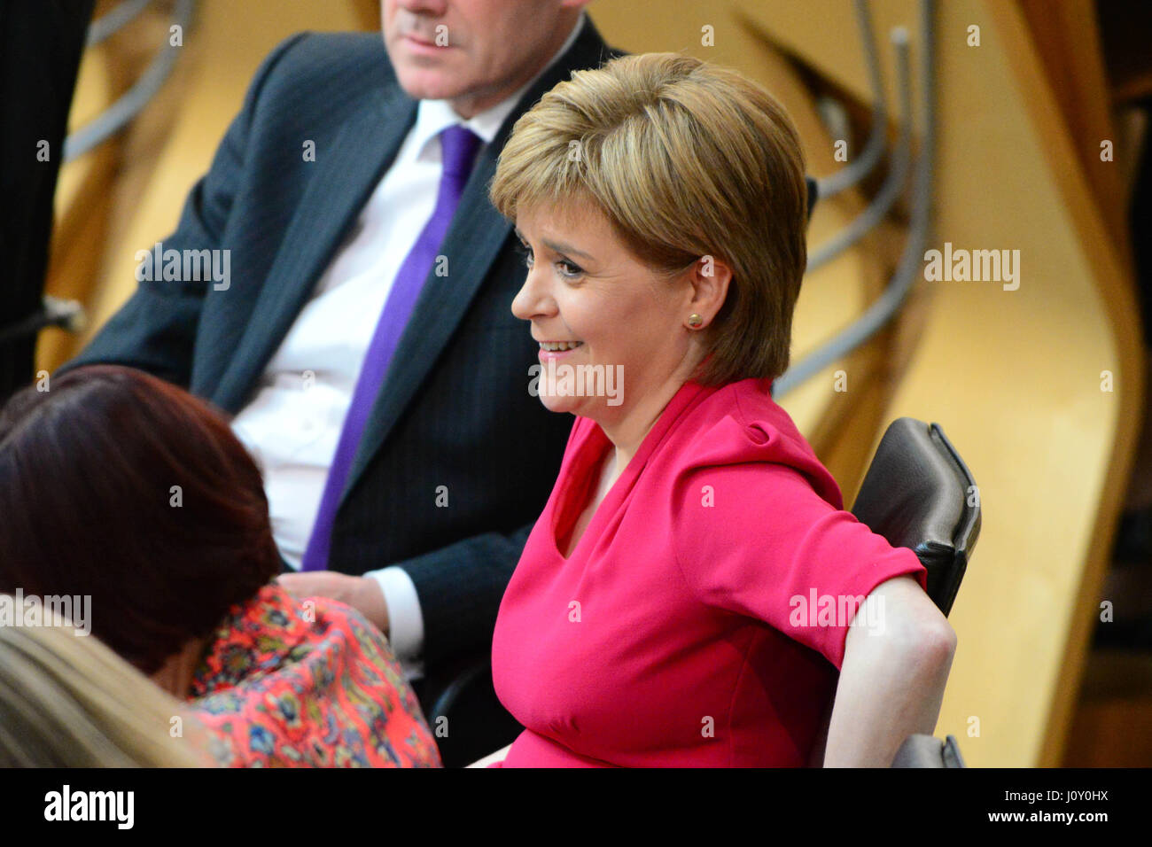 Scotland's First Minister Nicola Sturgeon during the debate on the Scottish Government's legislative programme - Stock Image