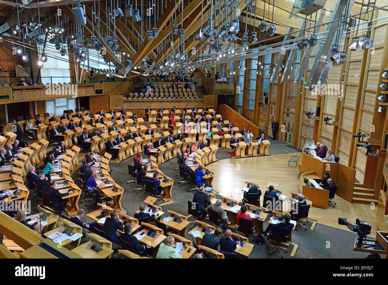 The chamber of the Scottish Parliament during the debate on the Scottish Government's legislative programme - Stock Image