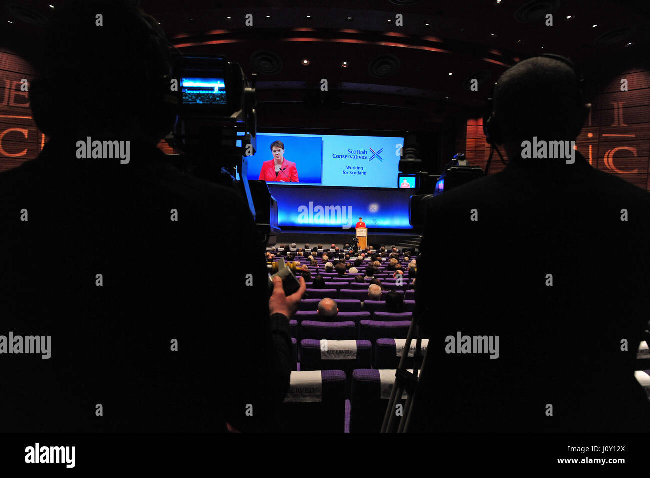 Scottish Conservative leader Ruth Davidson gives her keynote speech to the party conference in Edinburgh - Stock Image