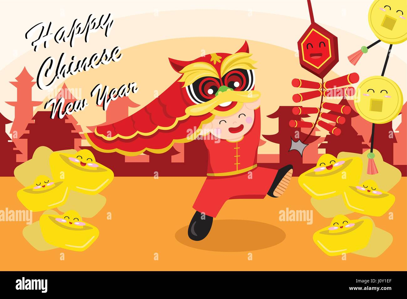 A Vector Illustration Of Chinese New Year Greeting Card Design Stock