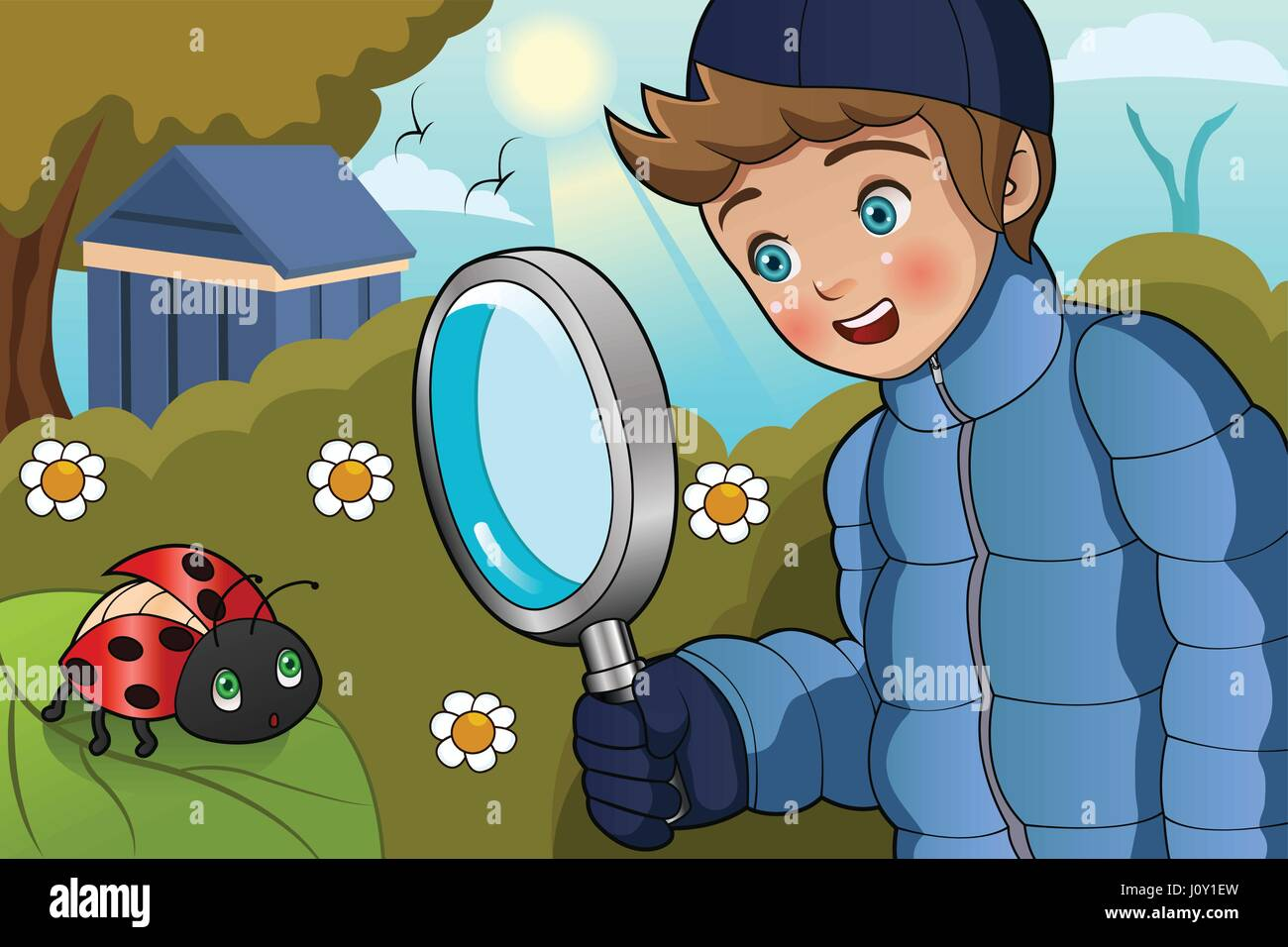 A vector illustration of cute boy looking at ladybug on a leaf using a magnifying glass - Stock Image