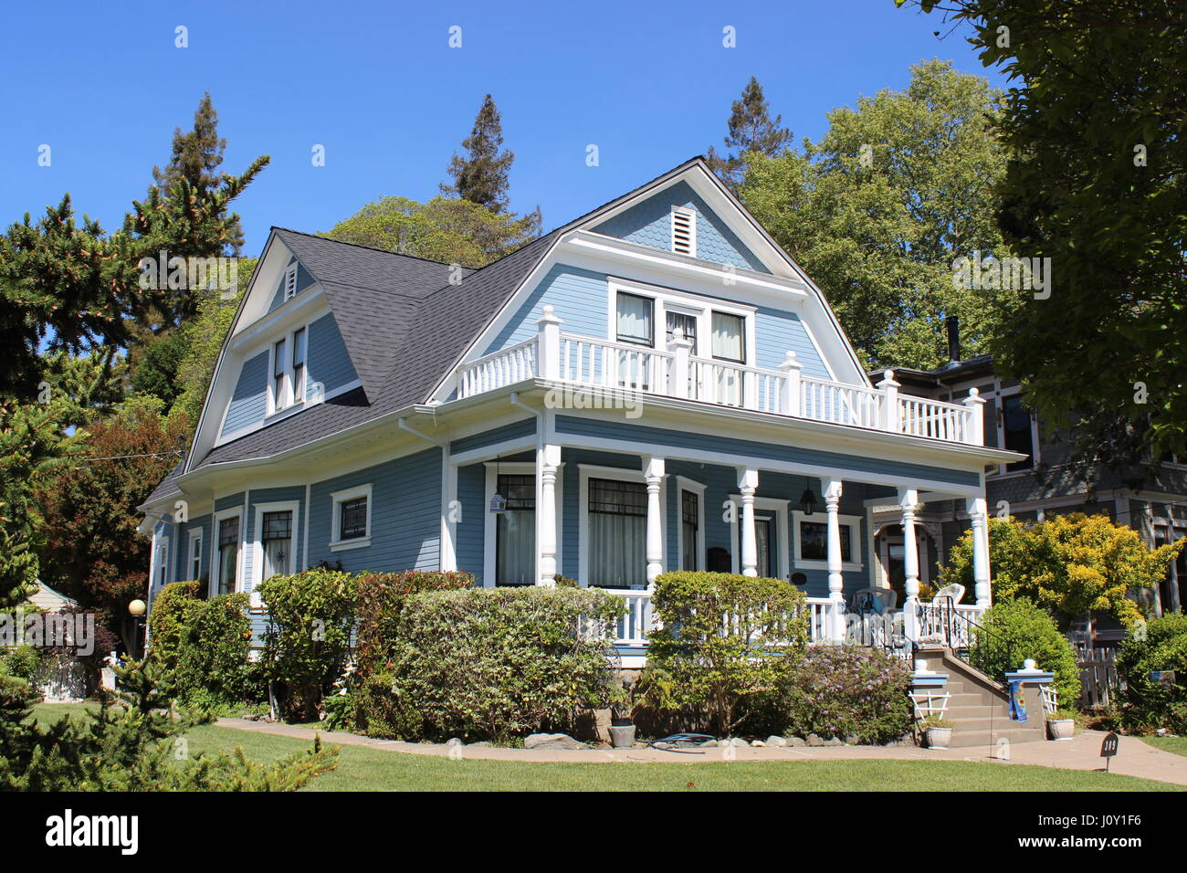 Dutch Colonial Revival House Built In 1908 In Napa California Stock