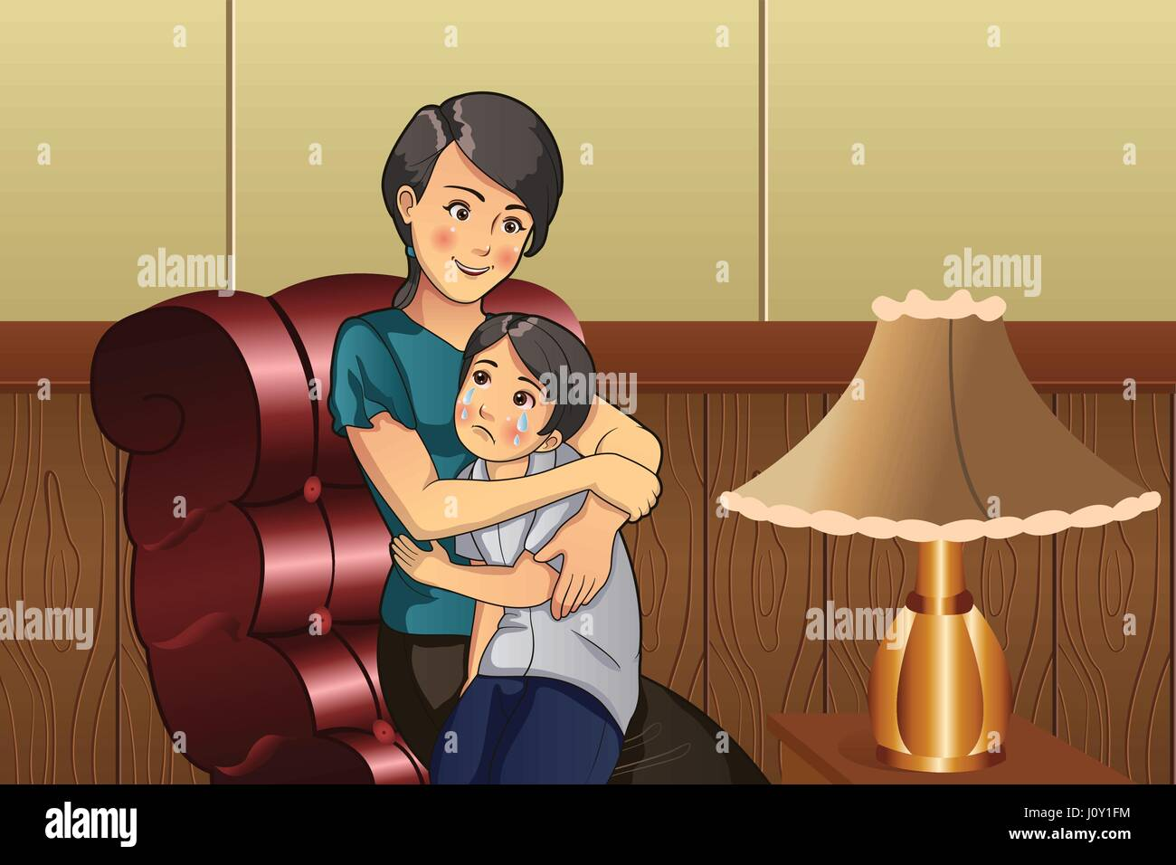 A vector illustration of mother comforting her crying little kid - Stock Vector