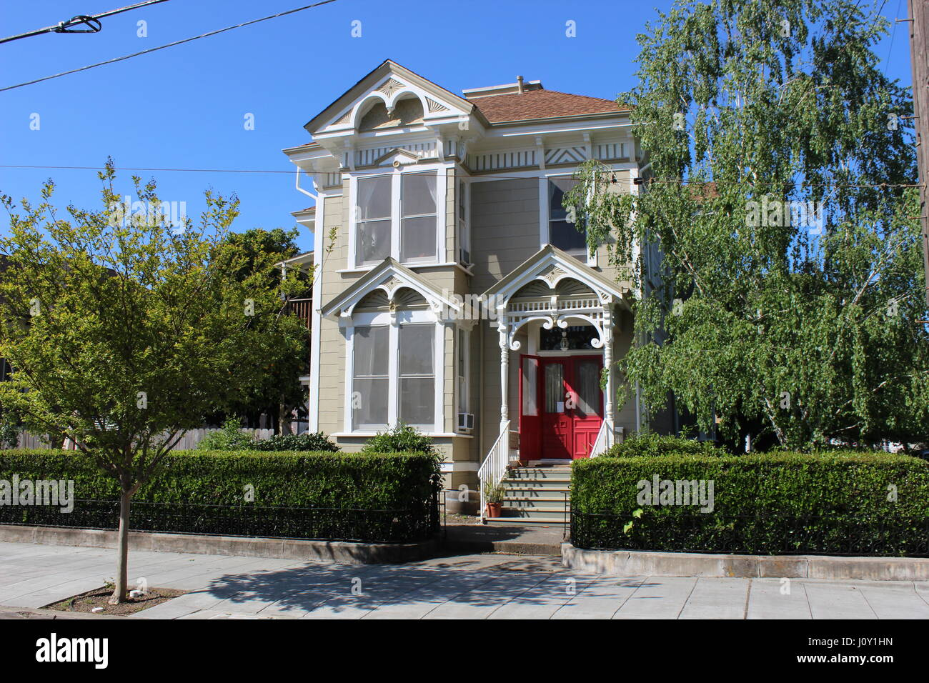 Eastlake or Stick-style house built around 1885 in Napa, California - Stock Image