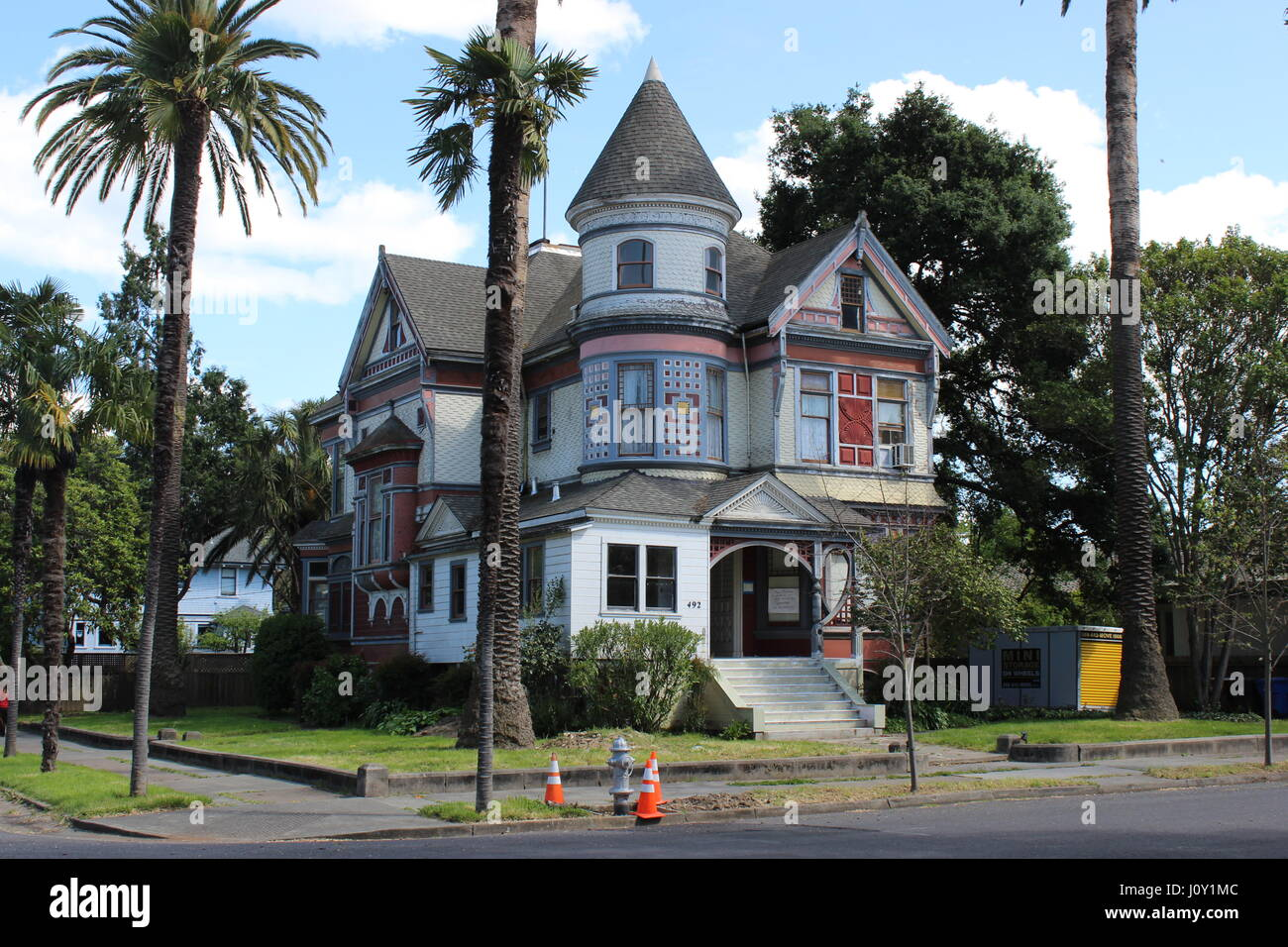 George E. Goodman Jr. House, 1891 Queen Anne Victorian house in Napa, California, designed by J. Marquis - Stock Image