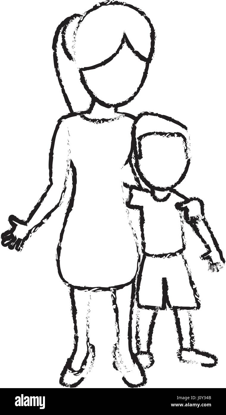 Sketch mother and son hugged