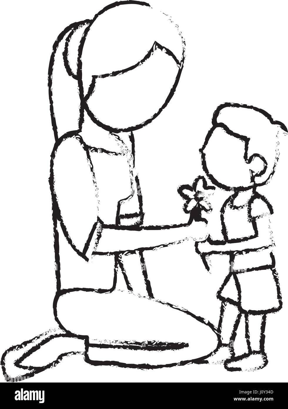 Sketch mother and son with flower