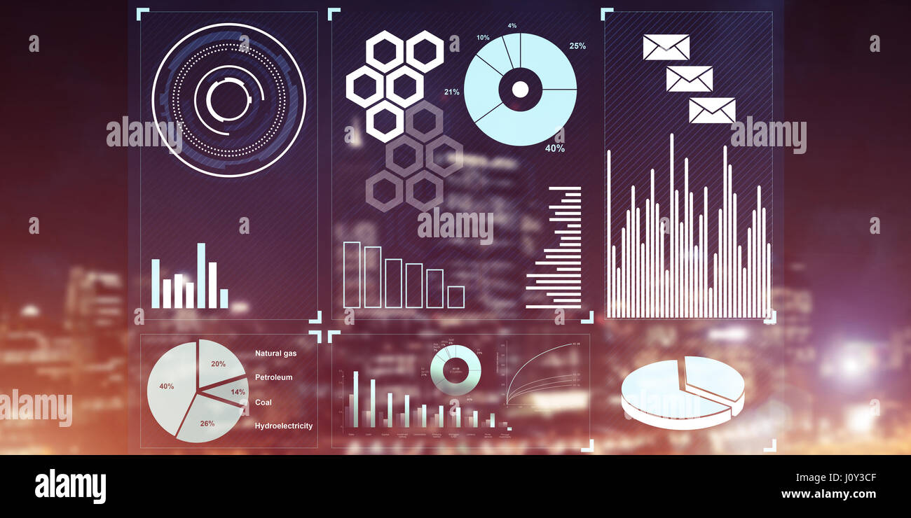Financial consulting and analytics concept with infographs on sc - Stock Image
