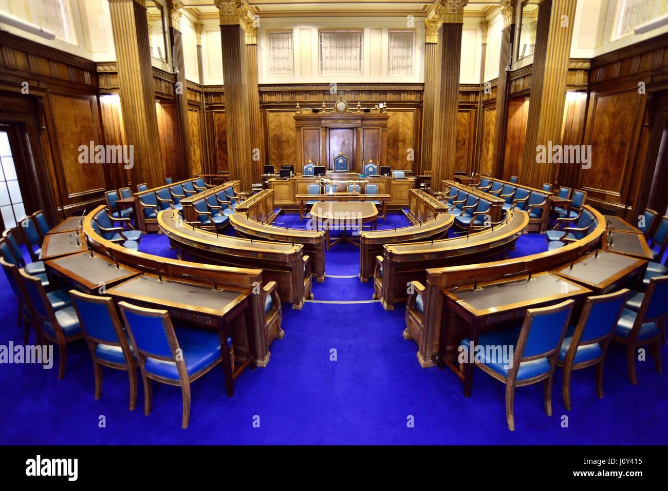 Council Chamber, Barnsley Town Hall, South Yorkshire, UK. - Stock Image