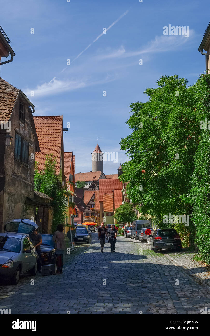 Dinkelsbuhl, Germany - August 28, 2010: Street view of Dinkelsbuhl, one of the archetypal medieval towns on the - Stock Image
