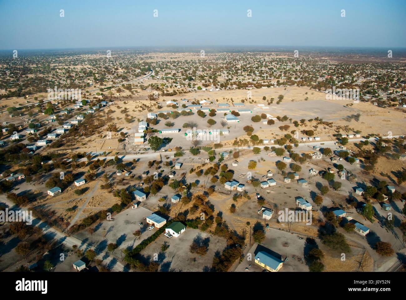 Aerial view of Maun town near the Okavango Delta, Botswana - Stock Image
