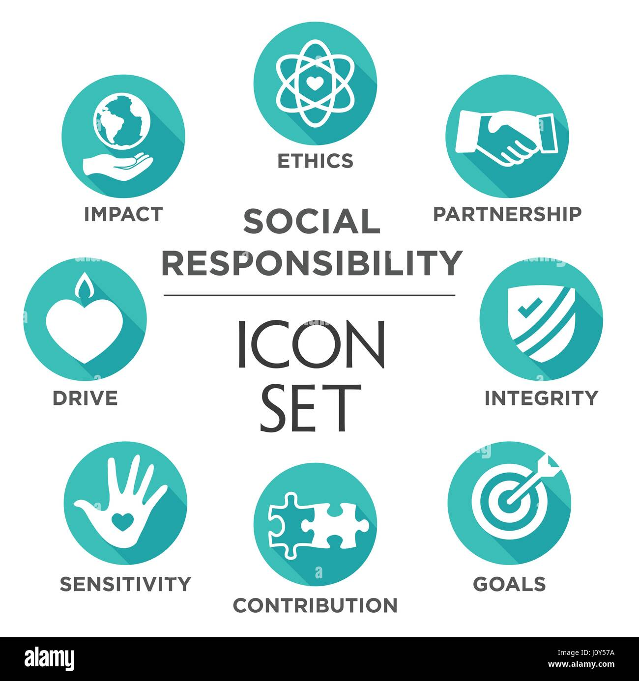 Social Responsibility Solid Icon Set with Impact, Ethics, Partnership, drive, etc - Stock Image