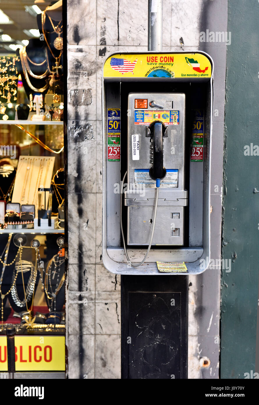 A Payphone in downtown Los Angeles California Stock Photo