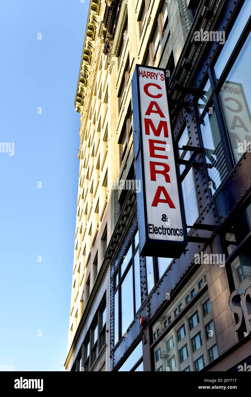 A sign for Harry's Camera and Electronics in downtown Los Angeles California - Stock Image