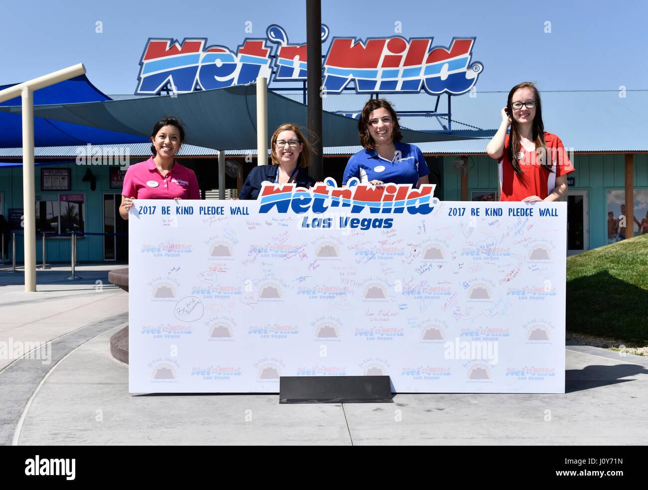 LAS VEGAS, NV - APRIL 8: The Josh Stevens Foundation's 'Be Kind' pledge day at Wet'n'Wild Las Vegas - Stock Image