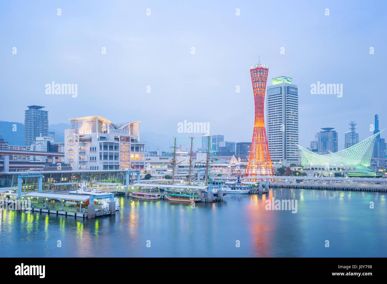 Kobe, Japan - January 5, 2016: Kobe port with Kobe tower in Japan. - Stock Image