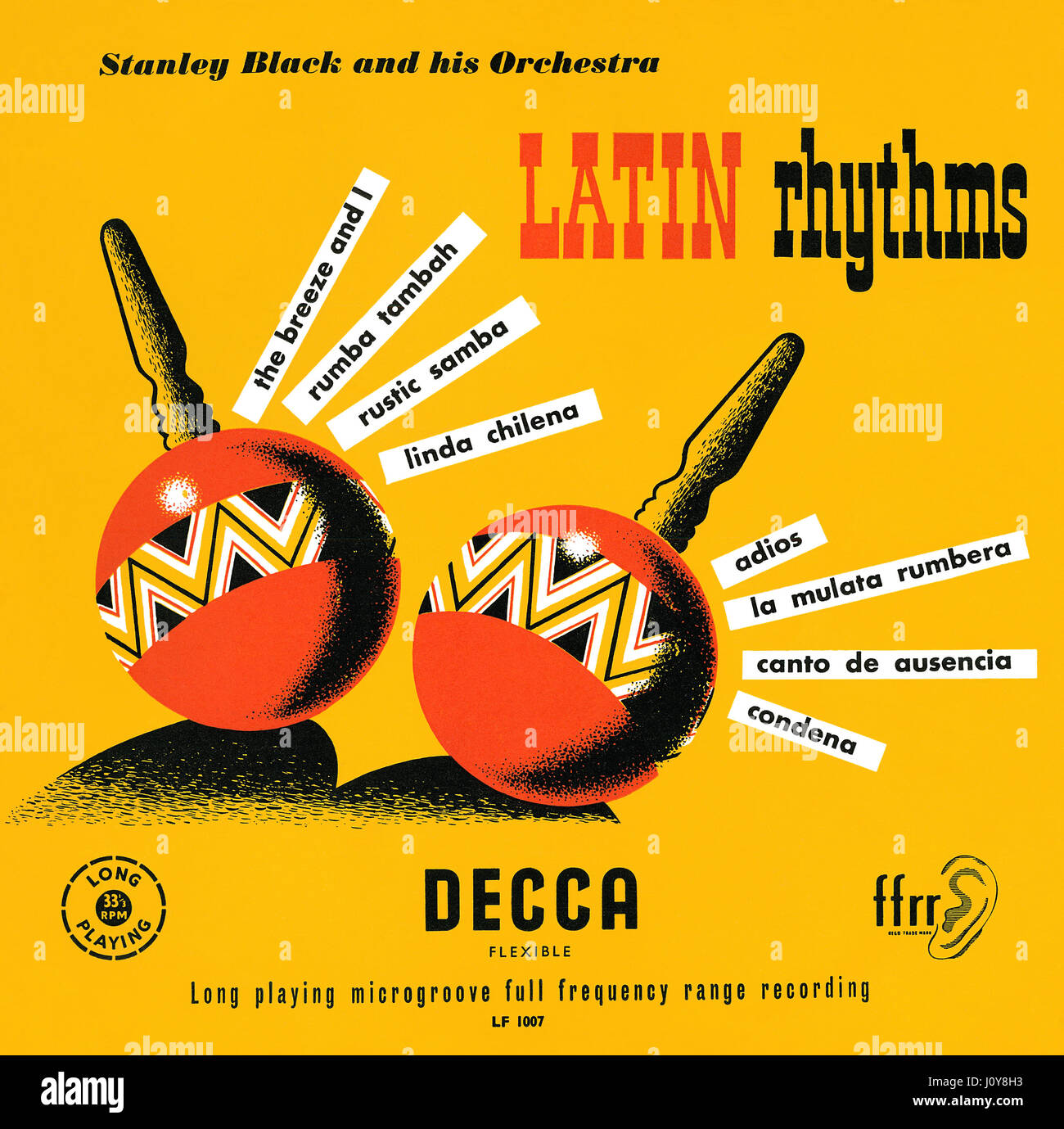 Front cover of the record sleeve for the Stanley Black and his Orchestra 10' LP Latin Rhythms. This vinyl album - Stock Image