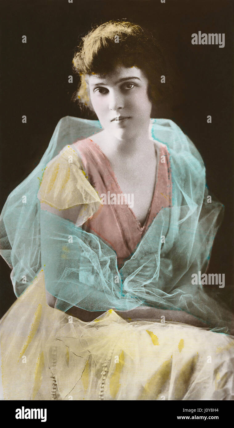American film actress Madge Kennedy. Hand-coloured sepia photograph. - Stock Image