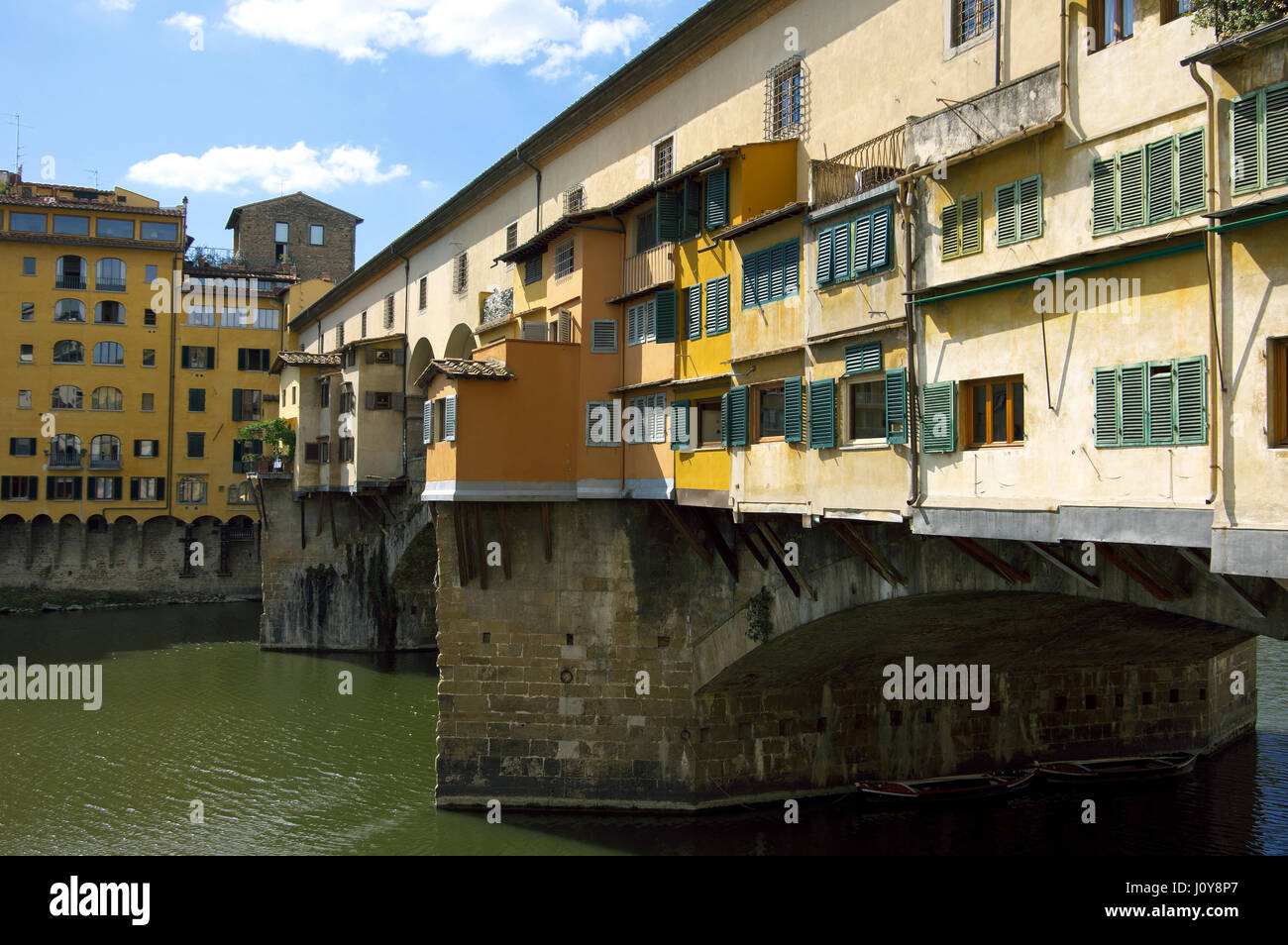 Angled View of Ponte Vecchio (Old Bridge) on Arno River - Florence (Firenze), Tuscany, Italy, Europe - Stock Image