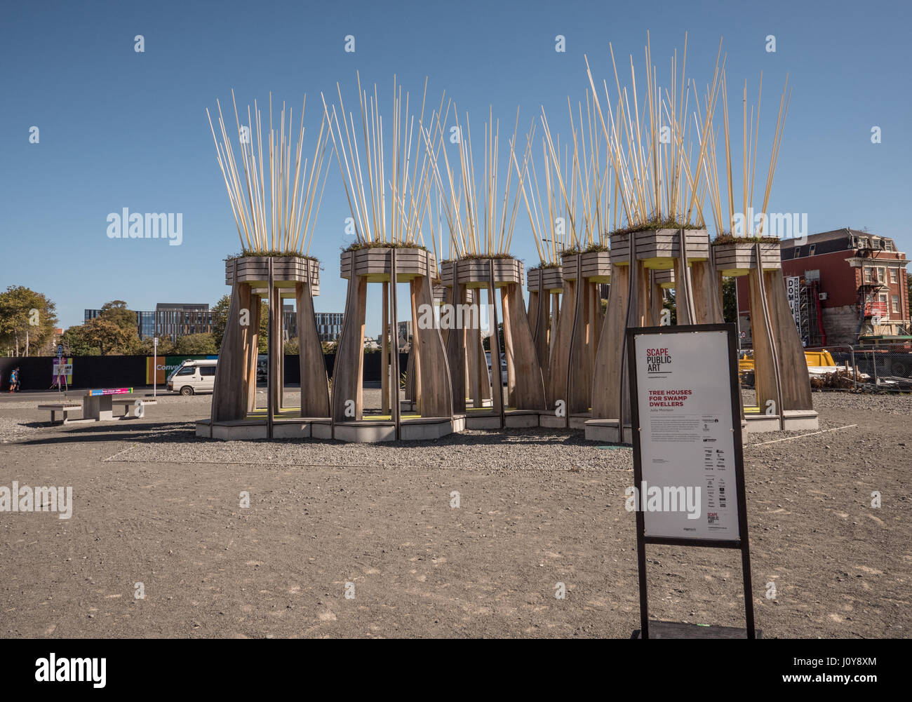 Tree Houses for Swamp Dwellers art installation by Julia Morrison, Christchurch, New Zealand. - Stock Image