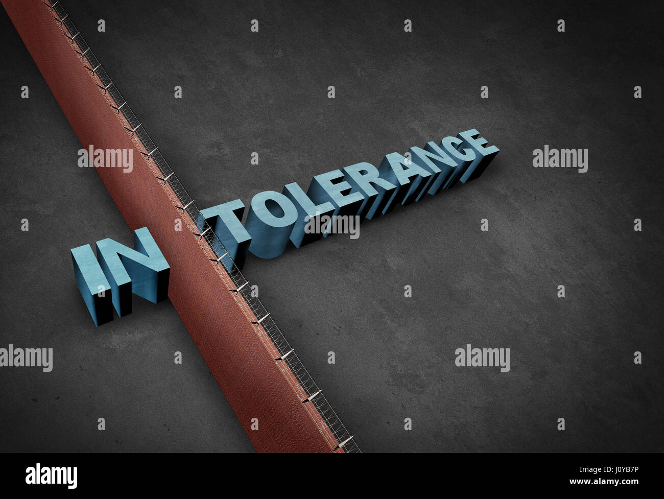 Intolerance and intolerant concept as a border wall dividing a word representing prejudice and discrimination as - Stock Image