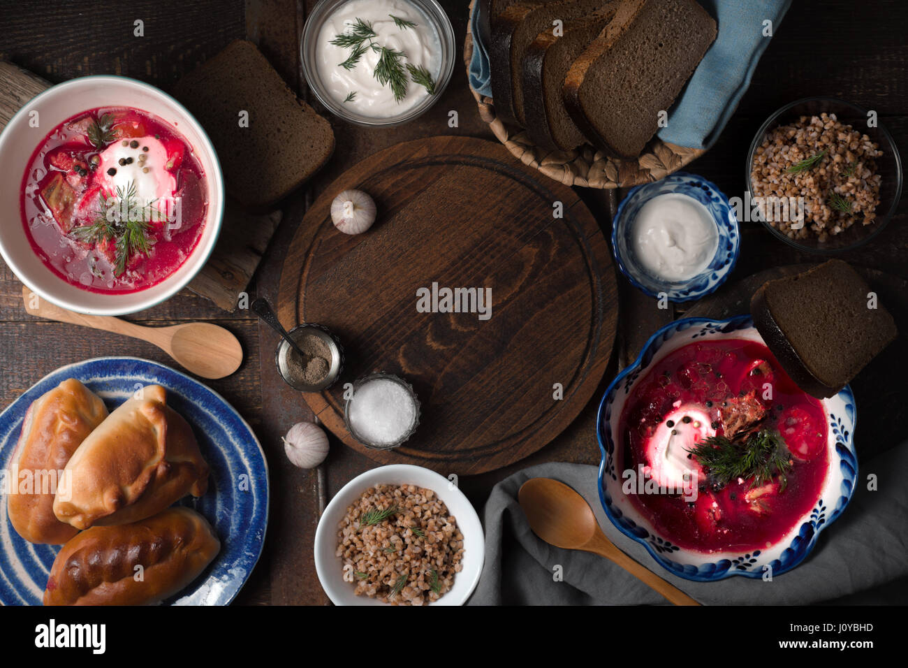 Traditional Russian dishes on the wooden table horizontal - Stock Image