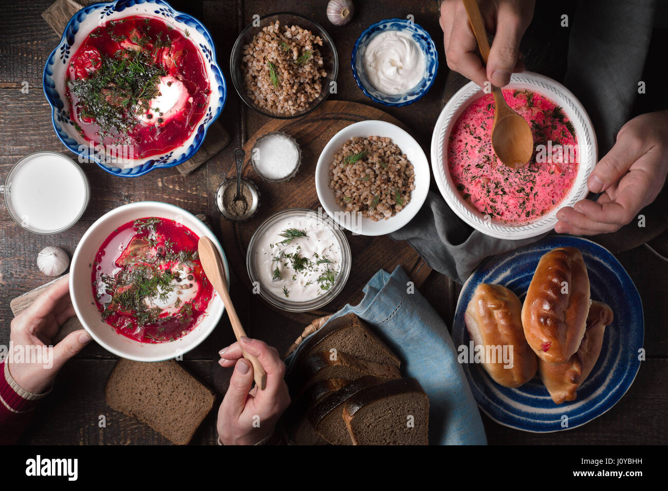Dinner in traditional Russian style top view - Stock Image