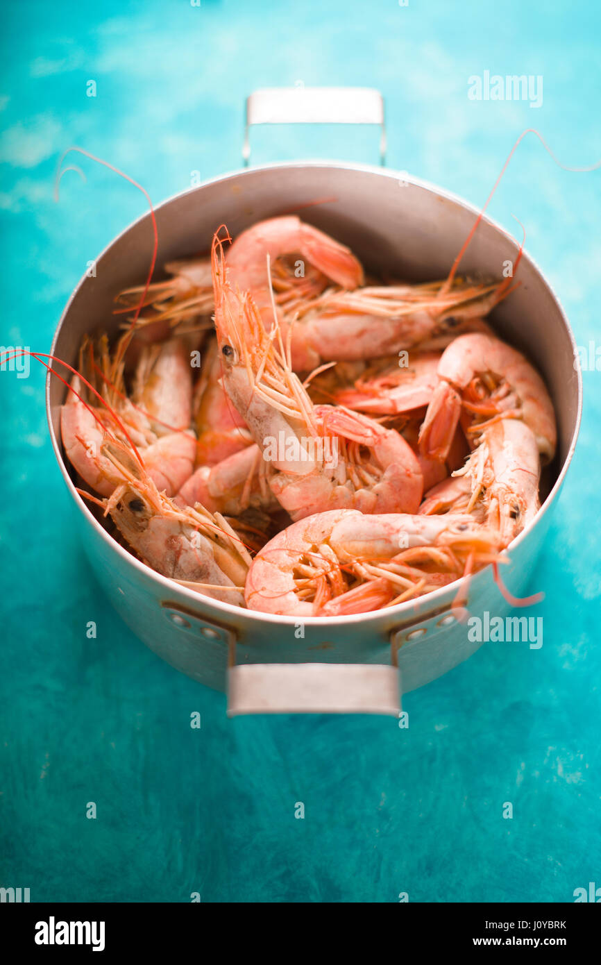 Casserole with shrimps on a turquoise table - Stock Image