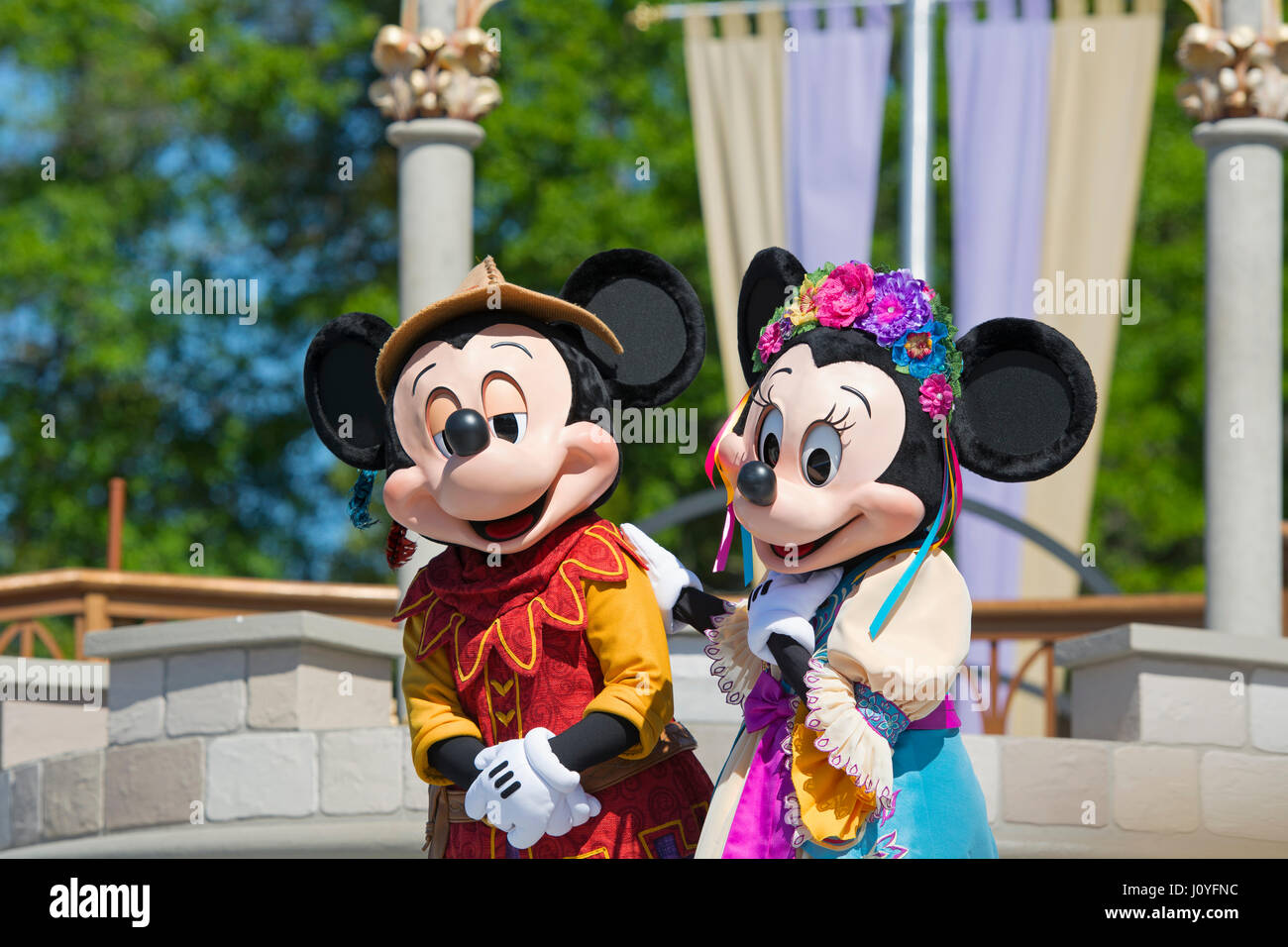 Mickey and Minnie Mouse, Mickey's Royal Friendship Faire show, Disney World, Orlando Florida - Stock Image