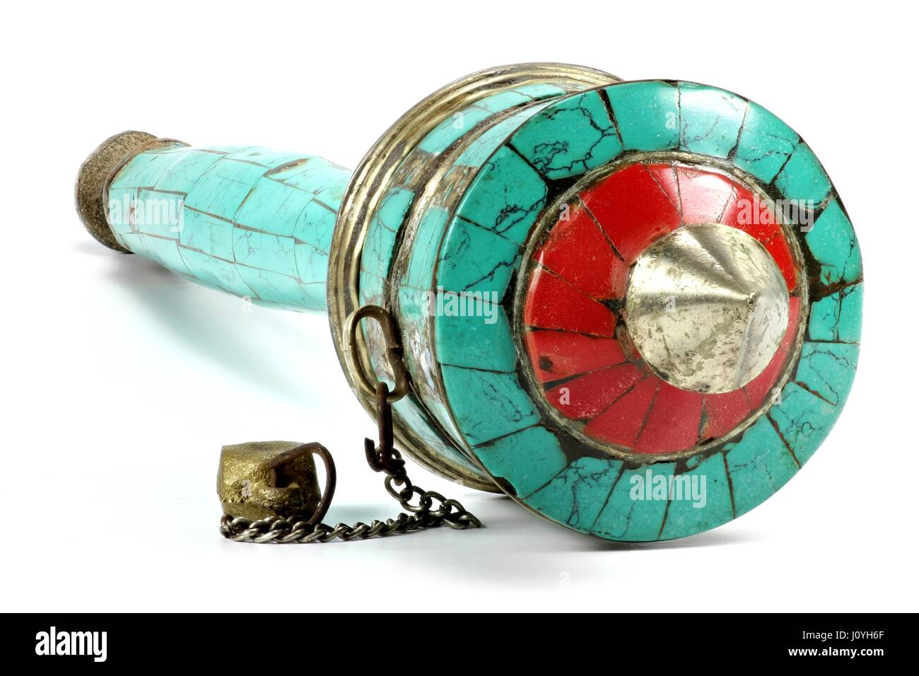 Tibetan prayer wheel isolated on white background - Stock Image