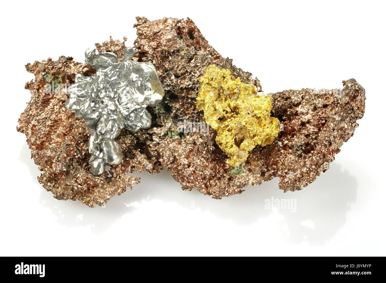 Gold And Copper : Gold silver and copper nuggets isolated on white background stock