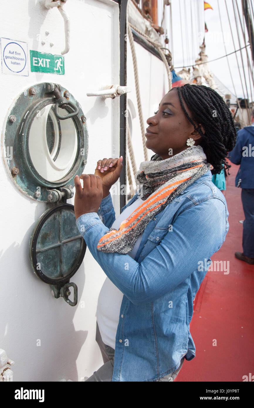 Ghanian African tourist in Woolwhich London Stock Photo