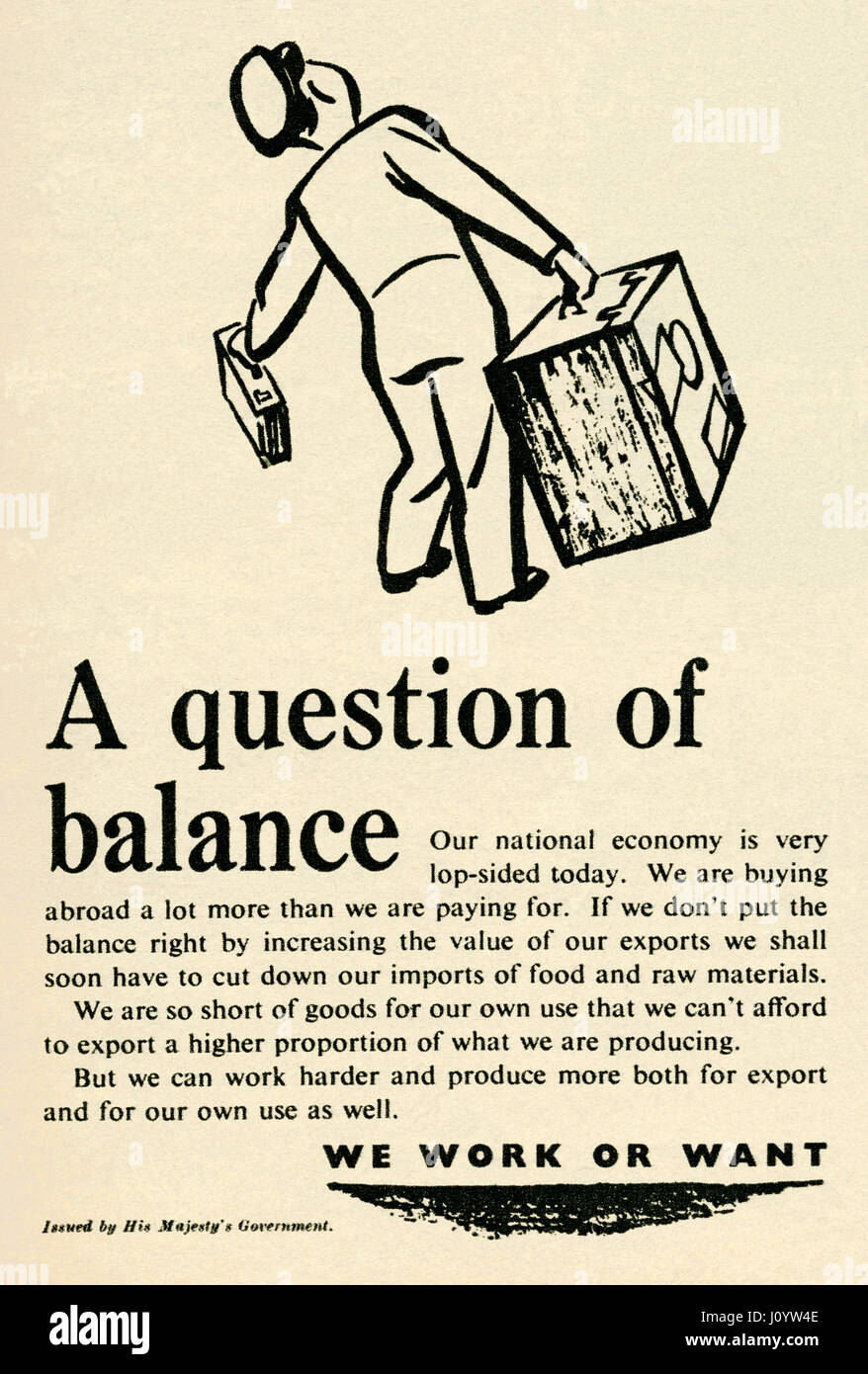 An UK government advert for promoting exports. The advert was part of a campaign in post-war Britain to encourage - Stock Image