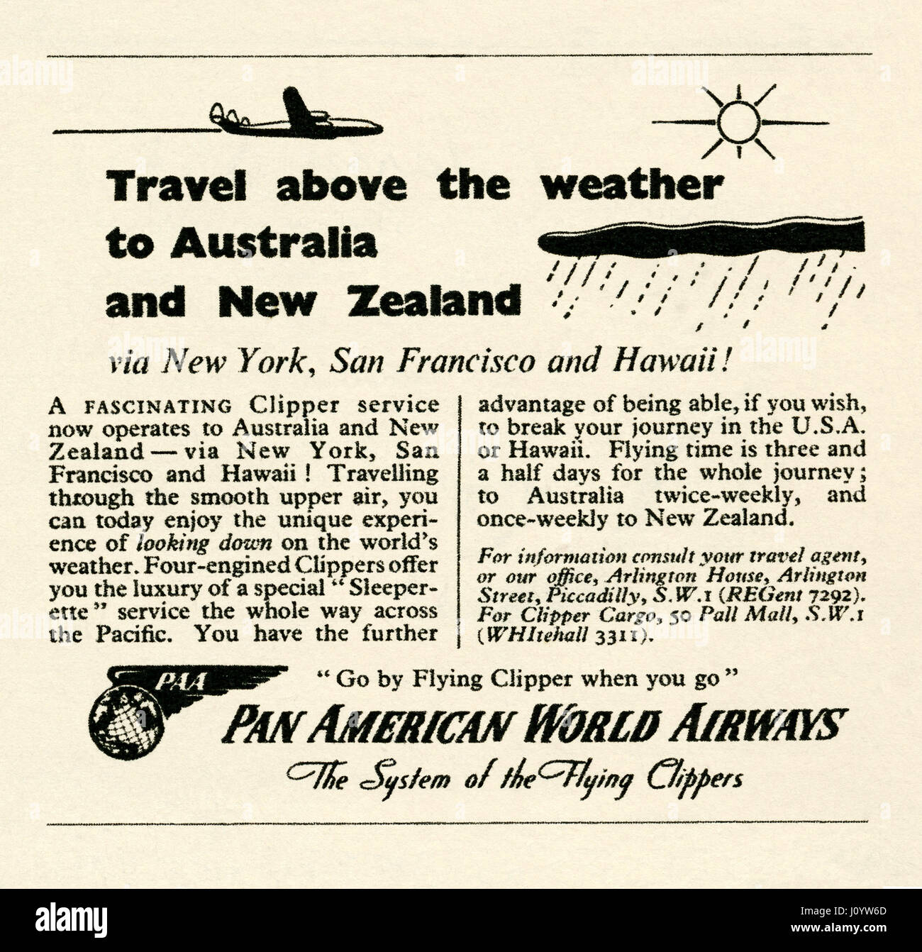 An advert for Pan American World Airways (PanAm) for it's 'clipper service' flights to Australia and - Stock Image