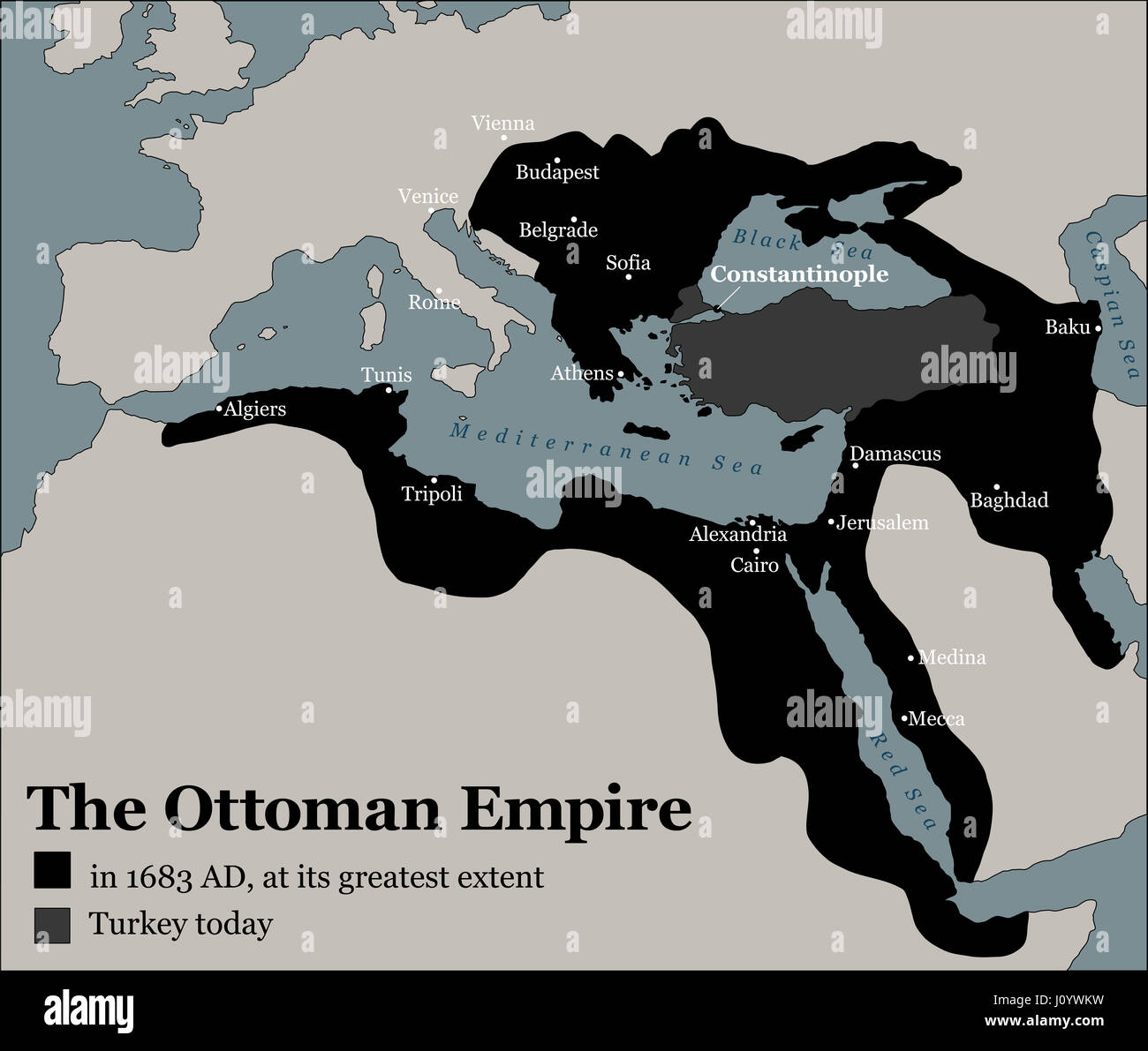 Turkey today and the Ottoman Empire at its greatest extent in 1683 - history map of its territory expansion and military acquisition.