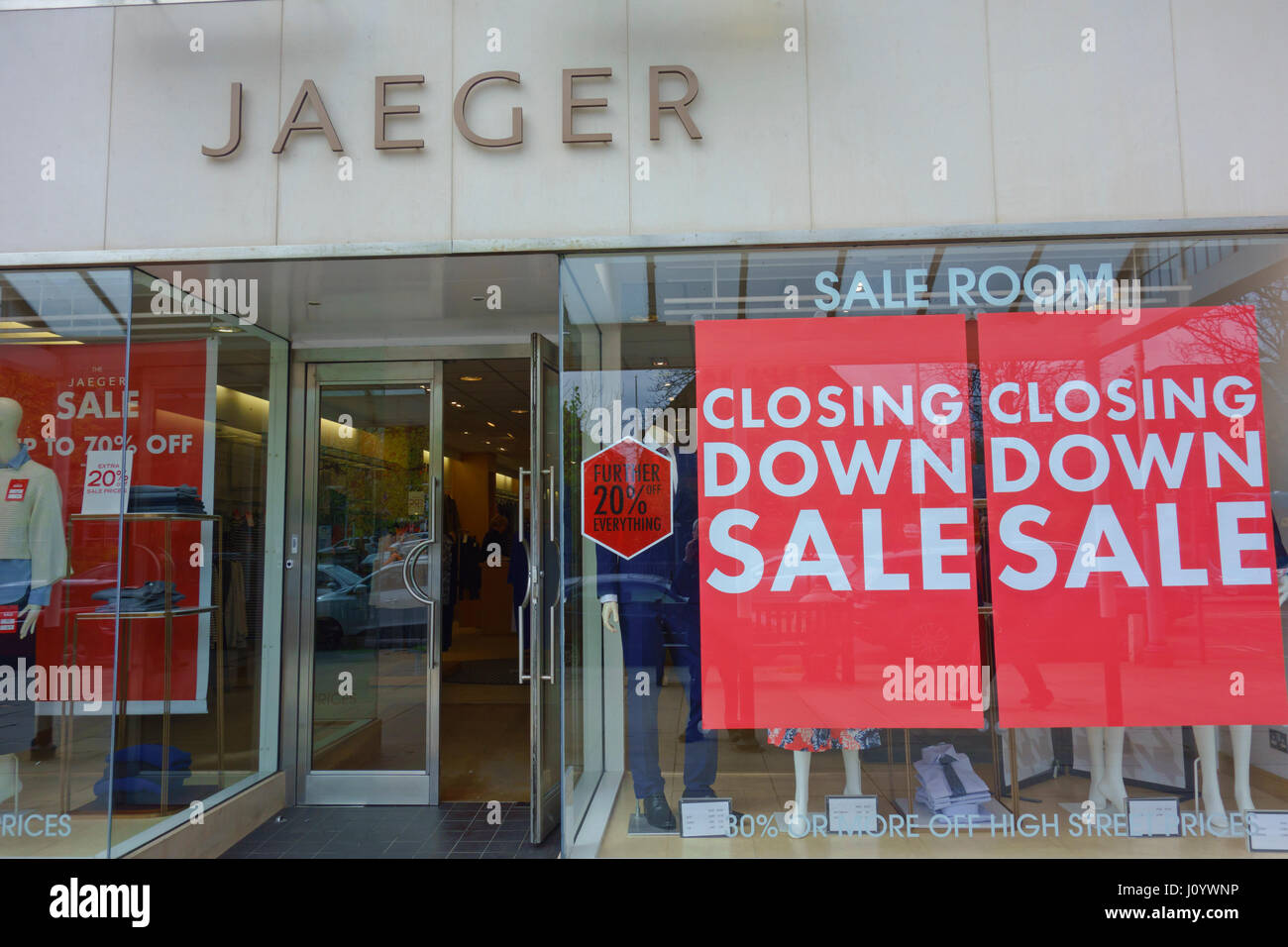 Closing down sale at Jaeger shop in Southport, Merseyside, UK Stock Photo